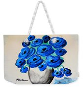 Blue Poppies Weekender Tote Bag by Ramona Matei