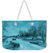 Blue Retro Vintage Rural Winter Scene Weekender Tote Bag