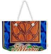 Blue Satin Merry Christmas Weekender Tote Bag