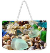 Blue Seaglass Beach Art Prints Shells Agates Weekender Tote Bag