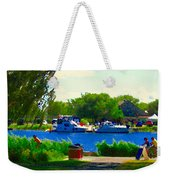 Blue Skies Boats And Bikes Montreal Summer Scene The Lachine Canal Seascape Art Carole Spandau Weekender Tote Bag