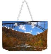 Blue Skies Over The New River Bridge Weekender Tote Bag