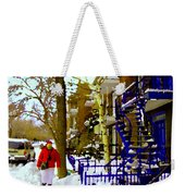 Blue Snowy Staircase And Birch Tree Montreal Winter City Scene Quebec Artist Carole Spandau Weekender Tote Bag