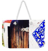 Blue Tile Brown Door 1 Weekender Tote Bag