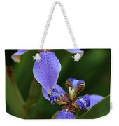 Blue Walking Iris Weekender Tote Bag by Carol Groenen