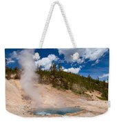 Blue Water White Steam Weekender Tote Bag
