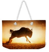 Blue Wildebeest Running In Dust Weekender Tote Bag