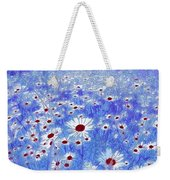 Blue With White Daisies Weekender Tote Bag