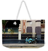 Blue Yellow Sporty Motorcycle Parked On Pavement Weekender Tote Bag