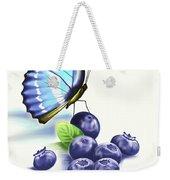 Blueberries And Butterfly Weekender Tote Bag