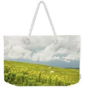 Blueberry Field And Goldenrod With Dramatic Sky In Maine Weekender Tote Bag by Keith Webber Jr