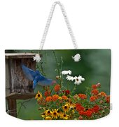 Bluebird And Colorful Flowers Weekender Tote Bag
