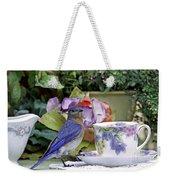 Bluebird And Tea Cups Weekender Tote Bag