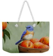 Bluebird And Peaches Greeting Card 3 Weekender Tote Bag