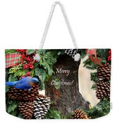 Bluebird Christmas Wreath Weekender Tote Bag