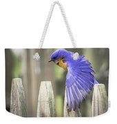 Bluebird On The Fence Weekender Tote Bag