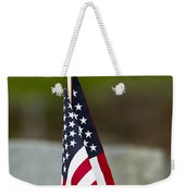 Bluebird Perched On American Flag Weekender Tote Bag by John Vose