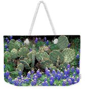 Bluebonnets And Cacti Weekender Tote Bag