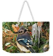 Bluejay And Ice Weekender Tote Bag