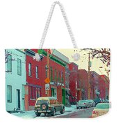 Blues And Brick Houses Winter Street Suburban Scenes The Point Sud Ouest Montreal Art Carole Spandau Weekender Tote Bag