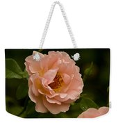Blush Pink Rose With Dew Weekender Tote Bag