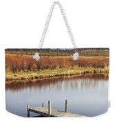 Boat Dock On A Pond In South West Michigan Weekender Tote Bag