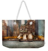 Boat - Governors Island Ny - Lower Manhattan Weekender Tote Bag by Mike Savad