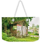 Boat Launch Outhouse - Texture Bw Weekender Tote Bag