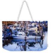Boat Mast Reflection In Blue Ocean At Dock Morro Bay Marina Fine Art Photography Print Weekender Tote Bag