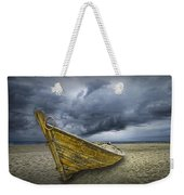 Boat On The Beach With Oncoming Storm Weekender Tote Bag