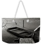 Boat In Ice - Lake Wingra - Madison - Wi Weekender Tote Bag