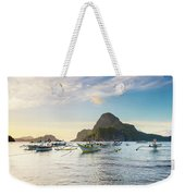 Boats Anchored In Bacuit Bay And Cadlao Weekender Tote Bag