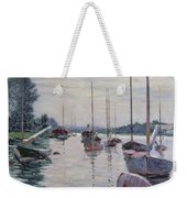 Boats Anchored On The Seine Weekender Tote Bag by Gustave Caillebotte