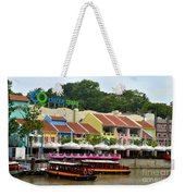 Boats At Clarke Quay Singapore River Weekender Tote Bag