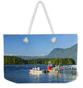 Boats At Dock In Tofino Weekender Tote Bag