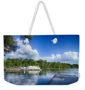 Boats At Dock On A Lake With Blue Sky Weekender Tote Bag