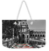 Boats By The Plaza De Espana Seville Weekender Tote Bag by Mary Machare