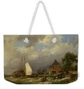 Boats Docking In An Estuary Weekender Tote Bag