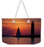 Boats Entering The Channel At The Muskegon Lighthouse Weekender Tote Bag