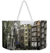Boats In Canal Amsterdam Weekender Tote Bag