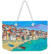 Boats In Front Of Buildings Viii Weekender Tote Bag by Xueling Zou
