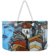 Boats In Front Of The Buildings Iv Weekender Tote Bag by Xueling Zou