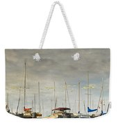 Boats In Harbor Reflection Weekender Tote Bag