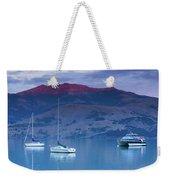 Boats In The Ocean At Dusk, Akaroa Weekender Tote Bag