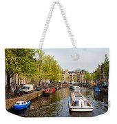 Boats On Canal Tour In Amsterdam Weekender Tote Bag