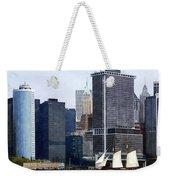Boats - Schooner Against The Manhattan Skyline Weekender Tote Bag
