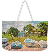 Boats Up On The Beach - Horizontal Weekender Tote Bag