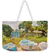 Boats Up On The Beach - Square Weekender Tote Bag