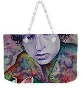 Bob Dylan-pink And Green Weekender Tote Bag by Joshua Morton