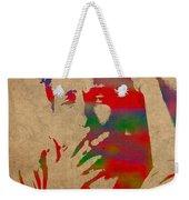 Bob Dylan Watercolor Portrait On Worn Distressed Canvas Weekender Tote Bag